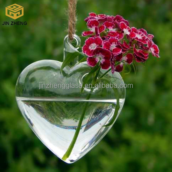 Transparent Heart Shaped Succulent Hanging Glass Vases For Creative