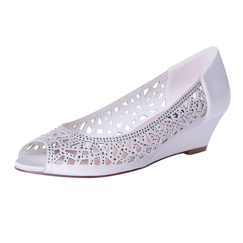 ERIJUNOR Women Peep Toe Low Heel Wedding Wedges Sparkle Rhinestone Bridal Shoes
