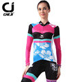 2016 New Cheji Cycling Clothing Set Butterfly Printing Autumn Cycling Jersey Long Sleeve Pink Bicycle Clothes