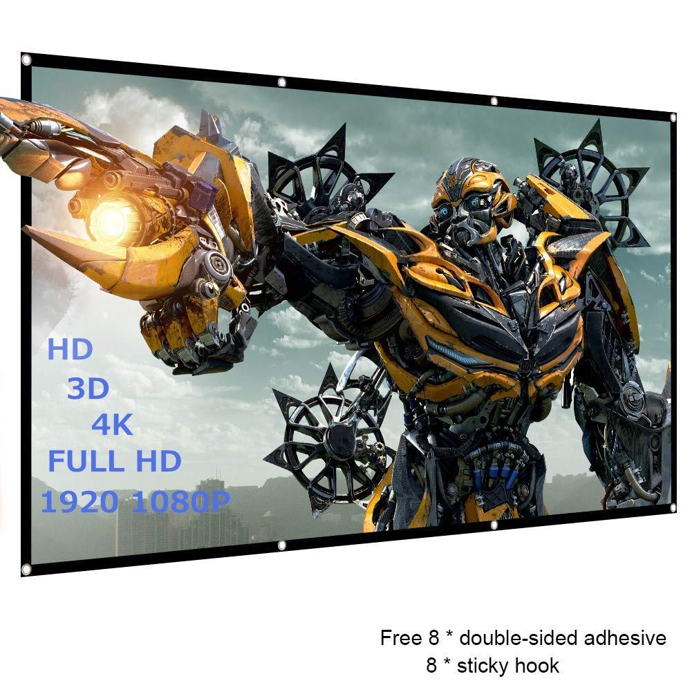120 inch Projector Screen, 16:9 HD, Foldable Anti-Crease Portable Projector Movies Screen - Full Down Rear & Front Support Double Sided Projection for Home Theater Outdoor Indoor,1.1lbs (US Shipment)