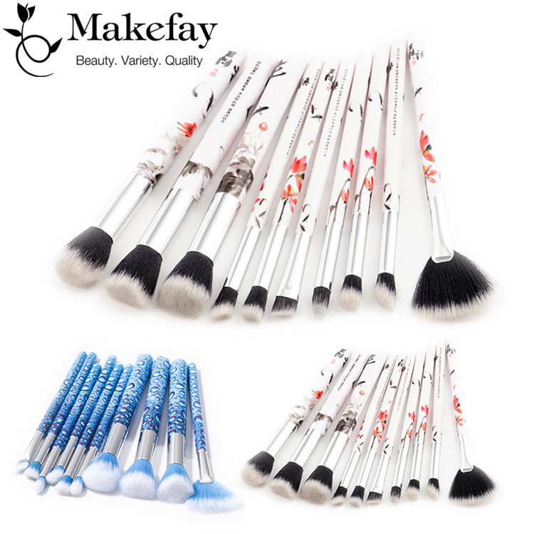 High Fashion New Professional Makeup Brushes Set 10 pcs Special Plastic Handle Makeup Brushes