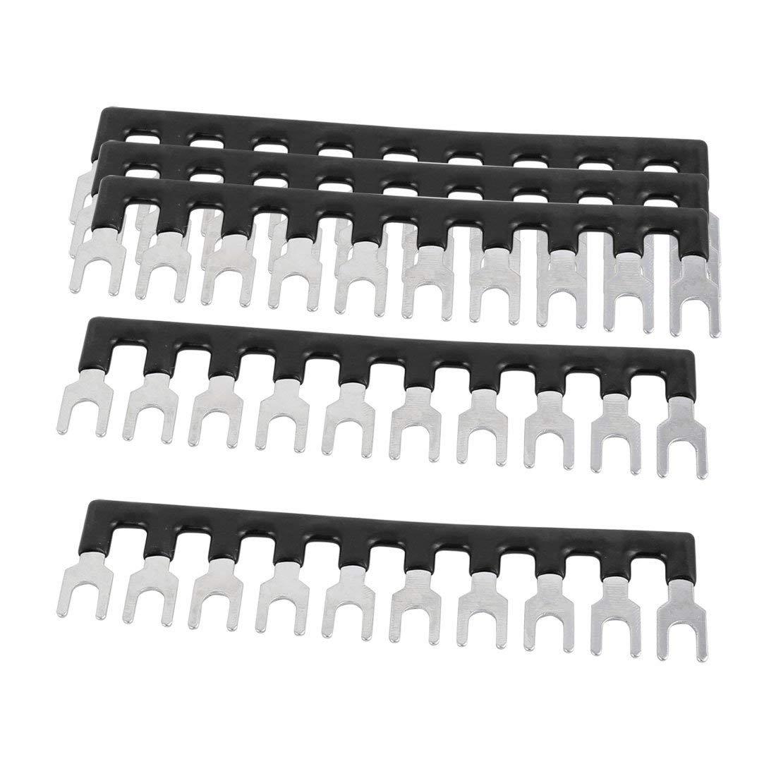 uxcell 5PCS TBD-20A 6mm Pitch 10 Position PCB Terminal Block Strip Barrier Black