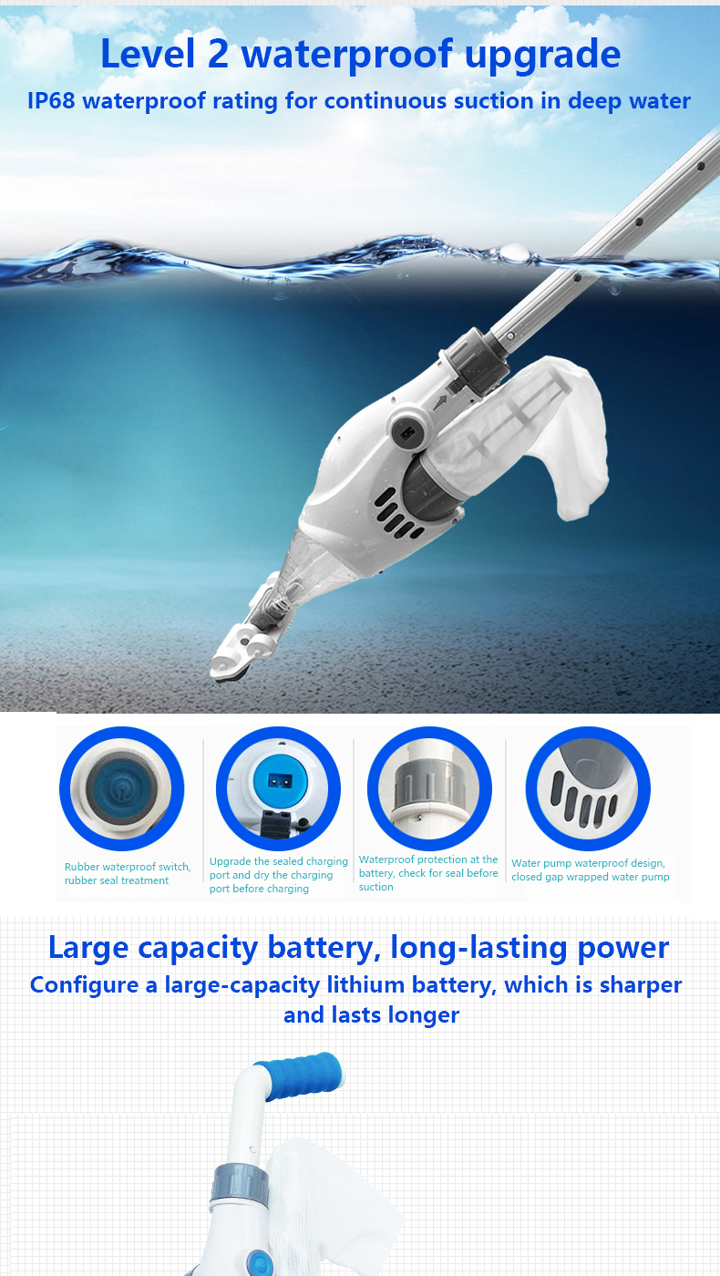 Wholesale Factory 2019 New Upgraded Handheld Electronic Suction Machine Sand Filter Pool Cleaner for Inflatable Pool