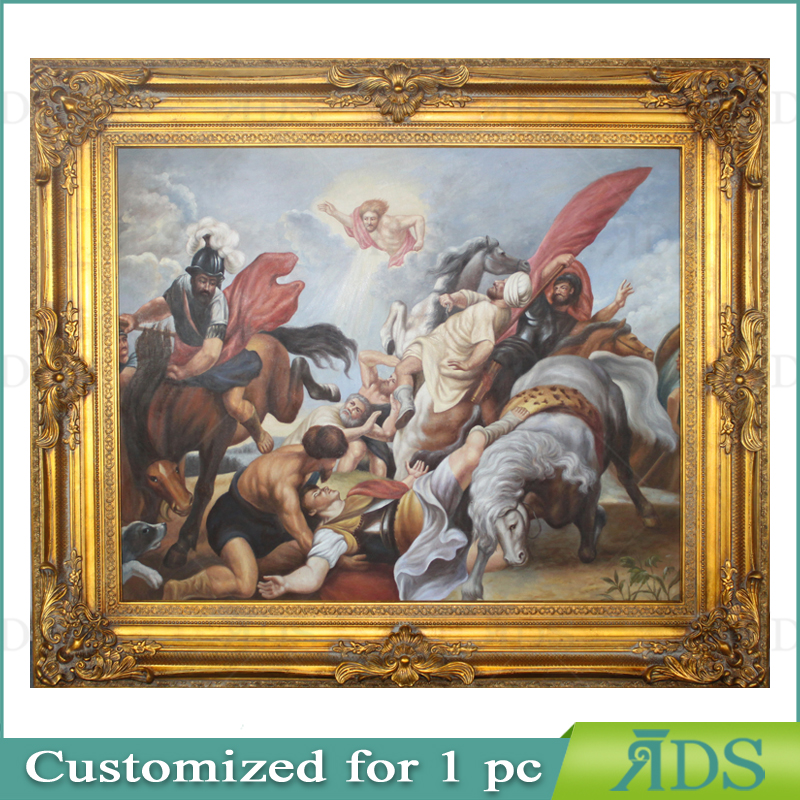 Classical Gold Wooden Photo Frame with Oil Painting for Wall Art