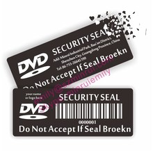 Custom do not accept if seal removed security CD or DVD labels, breakable tamper proof CD or DVD stickers