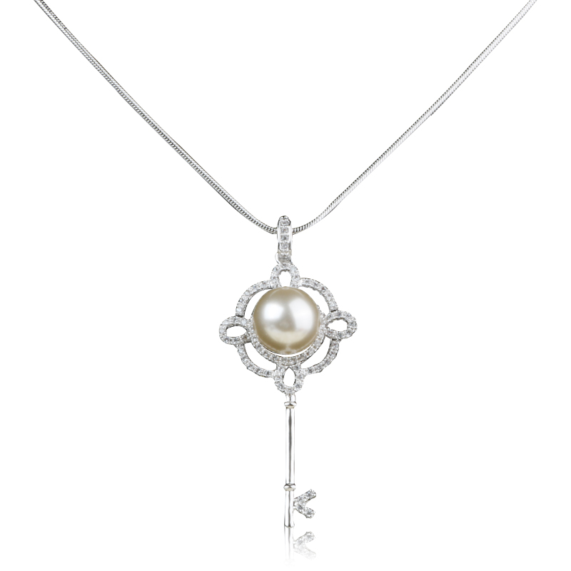 Hot Fashion 18K Gold White pearl necklace Gold CZ Crystal Lock key pendant necklace meaning