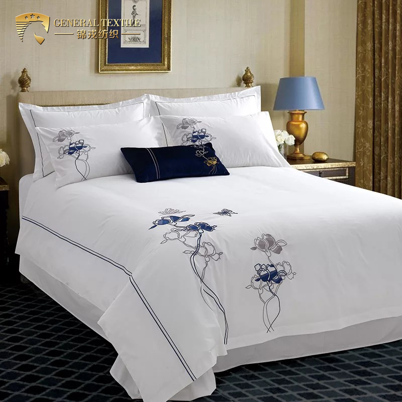 Fashion cotton luxury 5 star hotel custom embroidered pillowcases