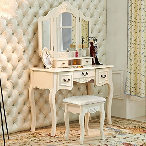 Dressing Table With Mirror Makeup Table French Wooden Dresser 3 Drawers Antique Vanity Set Wood