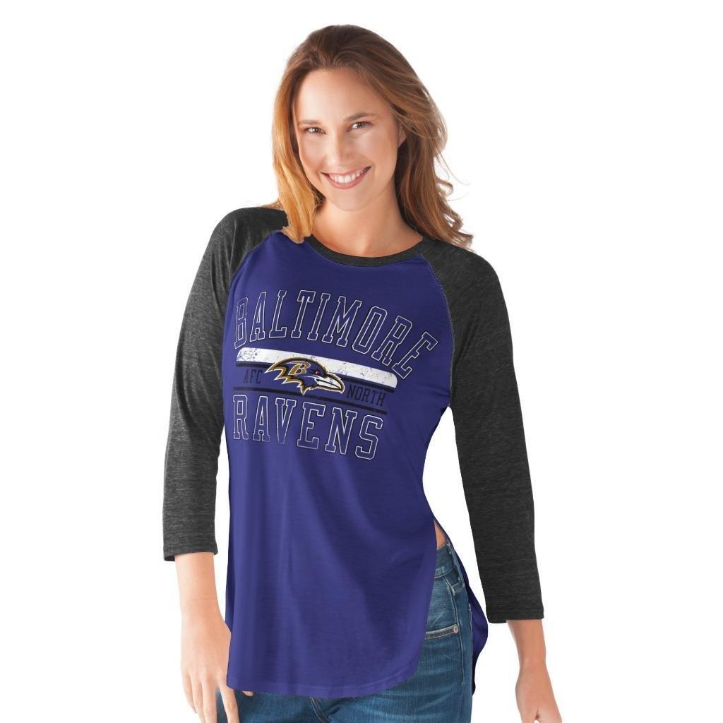 NFL Women's Hangtime Distressed Logo 3/4 Sleeve Tee (Large, Baltimore Ravens)