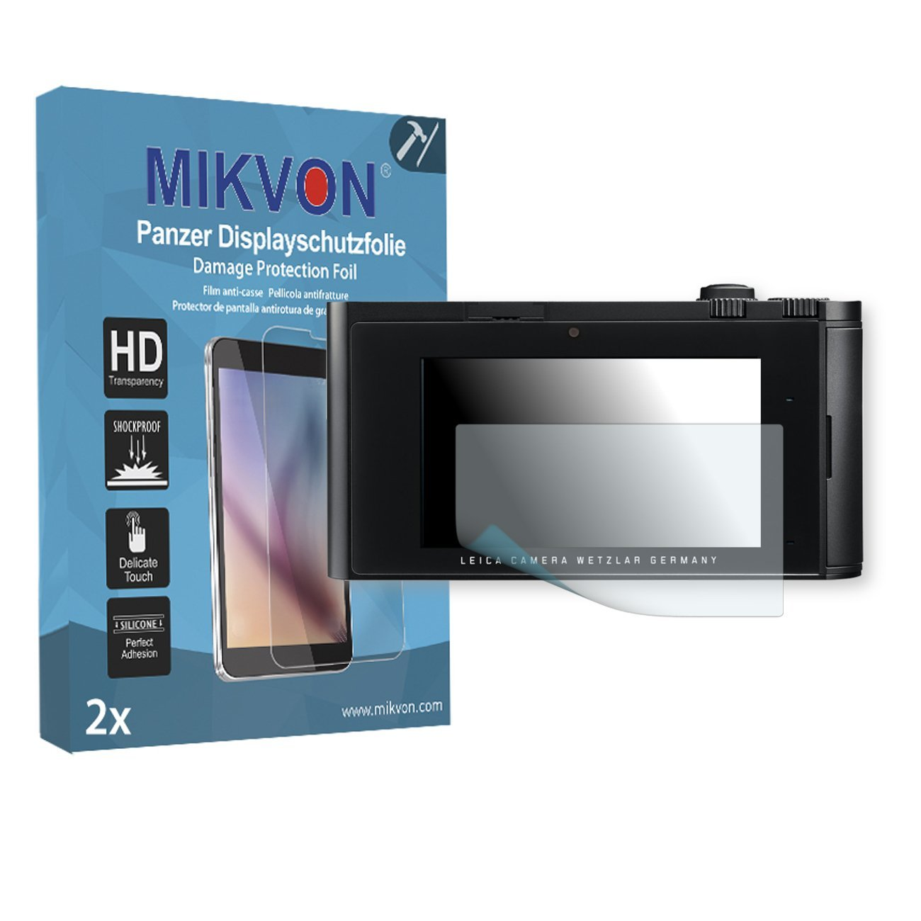 2x Mikvon Armor Screen Protector for Leica T screen fracture protection film - Retail Package with accessories