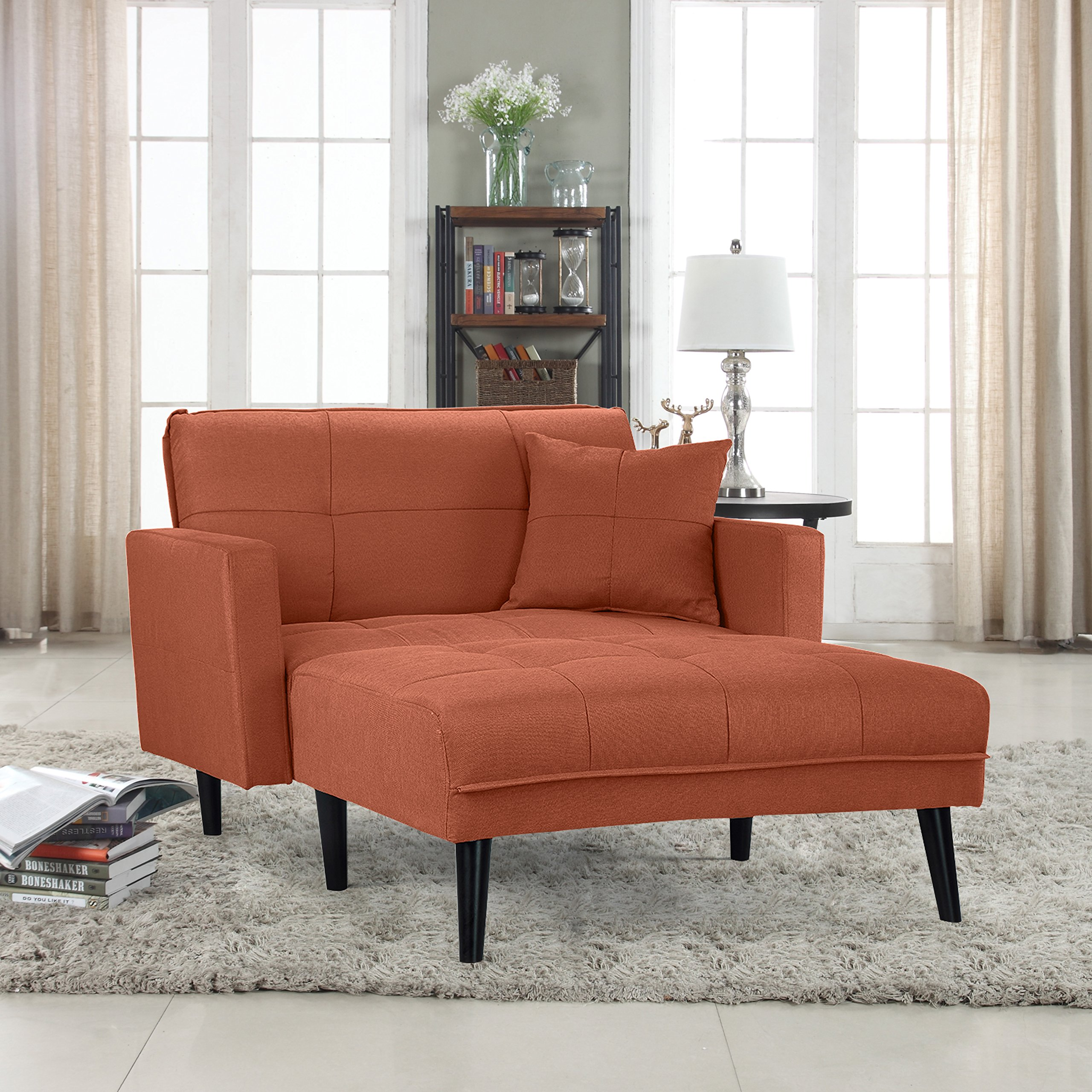 Get Quotations Divano Roma Furniture Modern Linen Fabric Recliner Futon Chaise Lounge Sleeper Single Seater