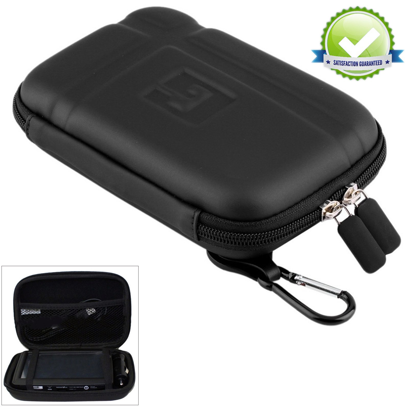 "5"" Inch Hard Carrying Case Travel GPS Protective Bag Cover Pouch Shell Zipper Case For 5"" 5.2"" TomTom Garmin Nuvi Magellan RoadMate Tomtom GPS Devices Black"