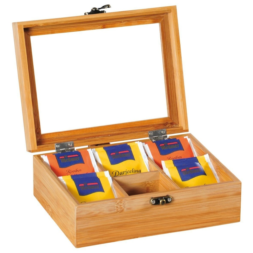 6 Compartment Assorted Bamboo Wooden Tea Bag Box