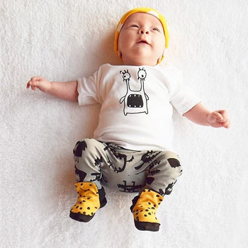 61abdb722 Amazon hot sale baby clothes sets lovely cartoon printed kids clothes sets