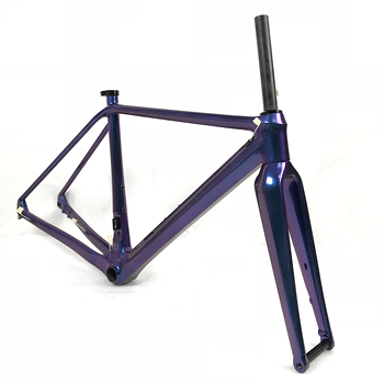 Beautiful gravel carbon disc brake bicycle frame with chameleon painting