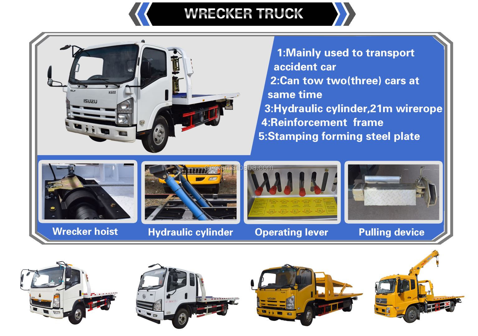 China Dongfeng Platform Tow Truck With Crane  and Dollies for Sale
