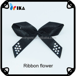 China supplier Fashion black colour handmade ribbon flower/Manufacturer of Satin Ribbon