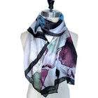 floral print colorful thin silk scarf Travel vacation style women Scarf