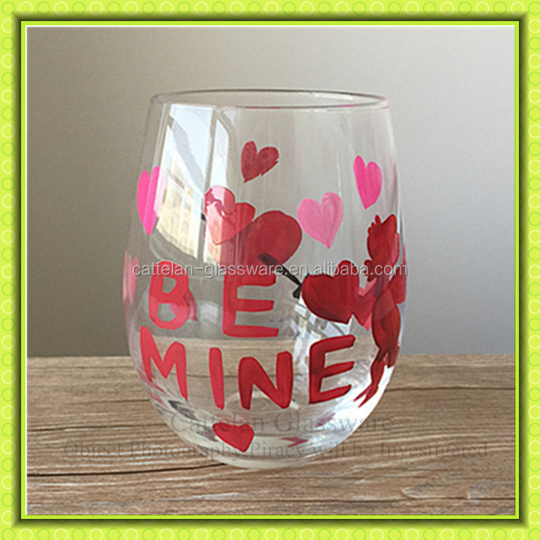 Valentine S Day 500ml Clear Hand Painting Stemless Wine Glass Cup