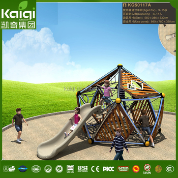 Kids Sports Wood Polyhedron Climbing Frame With Slide Outdoor ...