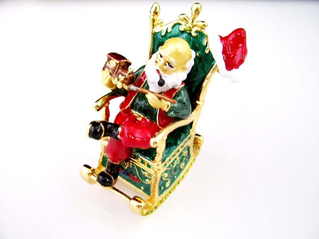 Santa in Rocking Chair Trinket Box, Clear Swarovski Crystal, Hand Painted Green & Red Enamel Over Pewter, Inside of Box with Lovely Enamel, Gold Plating, L 2.25 x H 2.50 x W 1.50