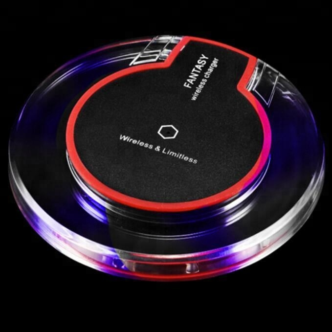 Cheap 2018 qi fast wireless charger for smart mobile phone Crystal LED wireless car charger