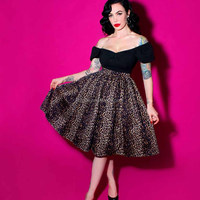 Leopard Print Full Skirt Heavy Weight Cotton Stretch Waistband Animal Print 1950's Vintage Swing Skirts Ladies