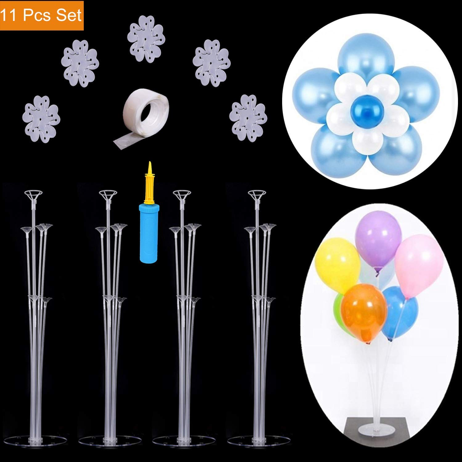 Wedding Party Clear Balloon Stand Accessory 7 Cups 1 Base Table Desktop Decor