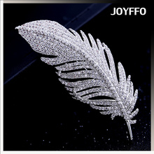 gentlewomen jewelry coat accessory fashion zircon micro pave feather brooch
