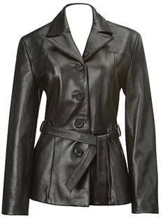 Belted Baby Doll Leather Jacket