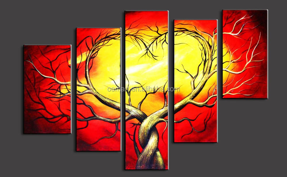 Handpainted Art Supplies 5 Panels Wall Sticker H Wall Hanging Canvas Wall Art Paintings Of Modern Trees Oil Painting On Canvas Buy Handpainted Art