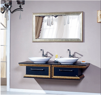 Wall mounted above counter ceramic double sink bathroom vanity suit