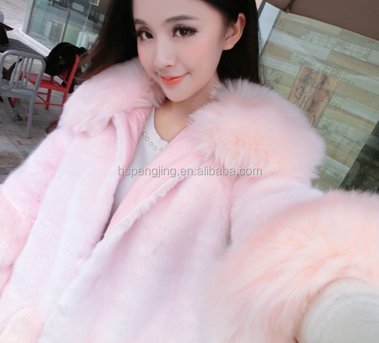 Factory price luxury women's fox fur coat /Pink women coat