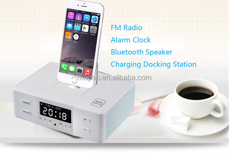 fm radio alarm clock bluetooth speaker charging docking station for iphone and samsung all smartphones - Iphone Charging Station