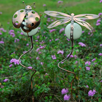 Ornamentel Ladybug With Glow In The Dark Ball Metal Ladybug Garden Stakes  Decorative Metal Stake Factory