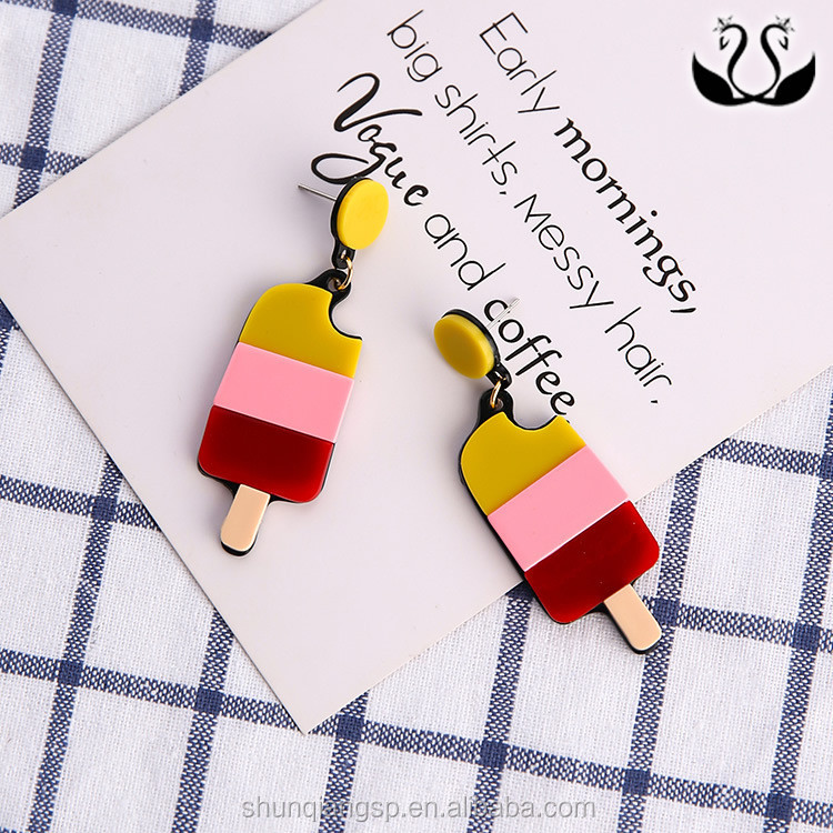 2017 New Trendy Products Cute Acrylic Ice Cream Food Earrings For Girls