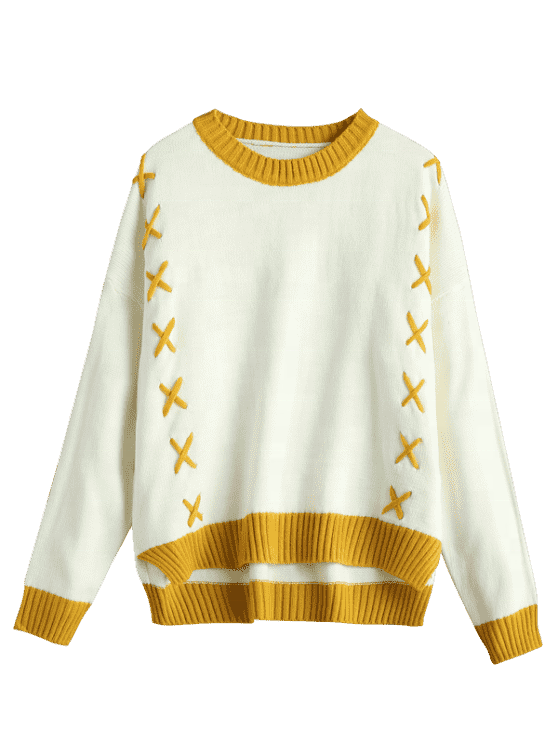 king young cotton  Crew Collar warm long sleeve custom Lace Up Two Tone woman knitted Sweater