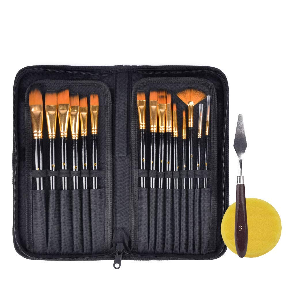 Haneye Artist Paint Brush Set, 15 Pcs Sizes Nylon Art Paint Brushes with Case, Wood Handles, with Painting Knife and Watercolor Sponge, Multifunction Brush for Gouache, Acrylics, Oil and Watercolor