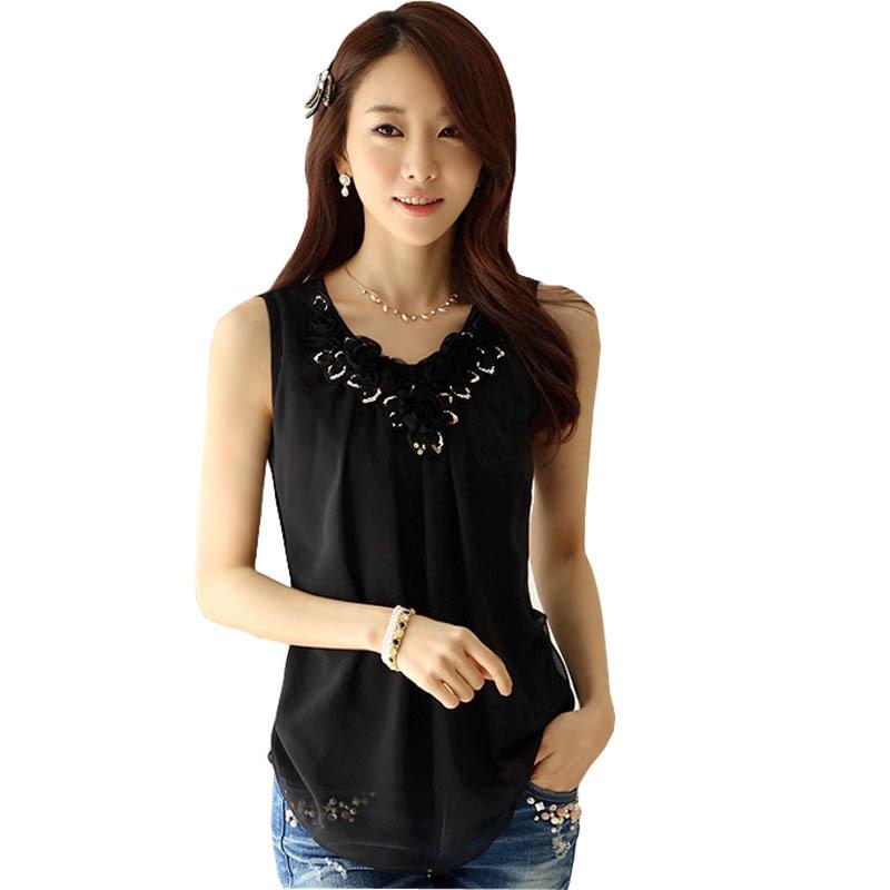 b336622883ae41 Get Quotations · New Korean Lady Fashion Chiffon Blouse Size S-2XL Black    White OL Style Summer