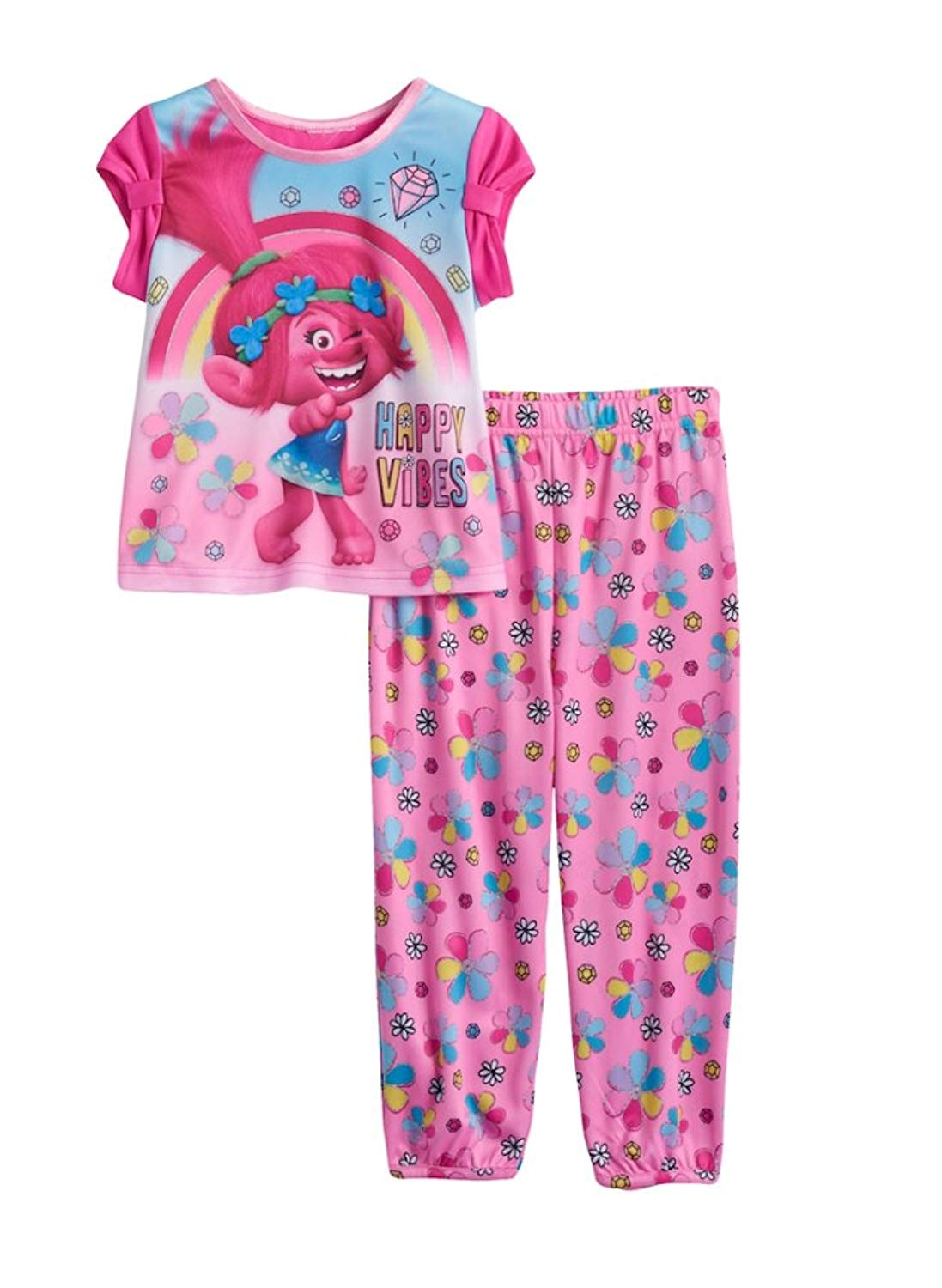 Get Quotations · DreamWorks Toddler Girls Trolls 2-Pc Happy Vibes Top   Pants  Pajama Set 553bb4710