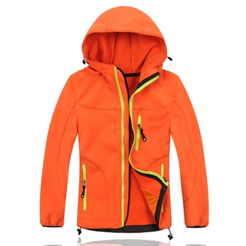 Free Shipping Child  outdoor soft shell clothing male female child thermal windproof water cardigan velvet outerwear