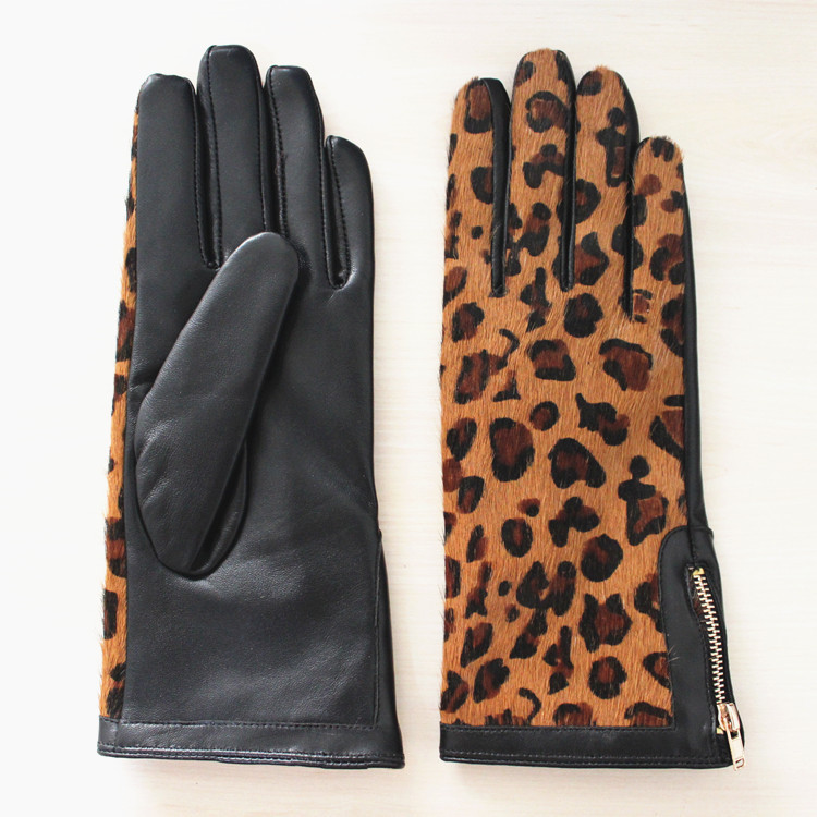 Horse fur plam women leather gloves with zipper