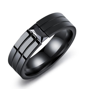 b3a92bf304bb3 6mm width black onyx jewelry mens black onyx ring stainless steel cool  black diamond rings for boys men (563)