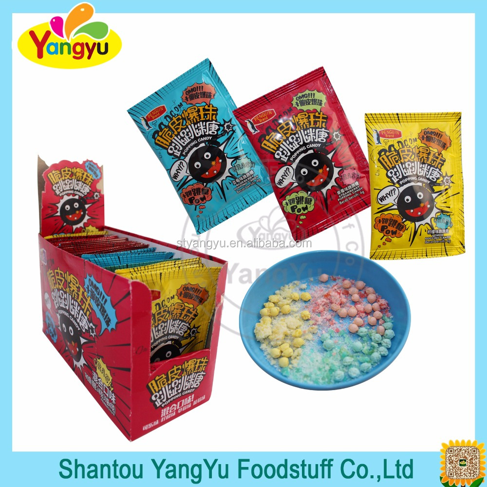 Top quality popular sour and sweet bag packing popping candy