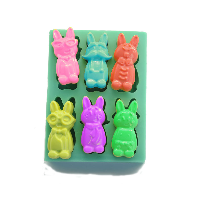 Six Rabbit Design Silicone Soap Cake  Mold Cake DecoratingTools Candy Chocolate  Silicone Mold  Mould