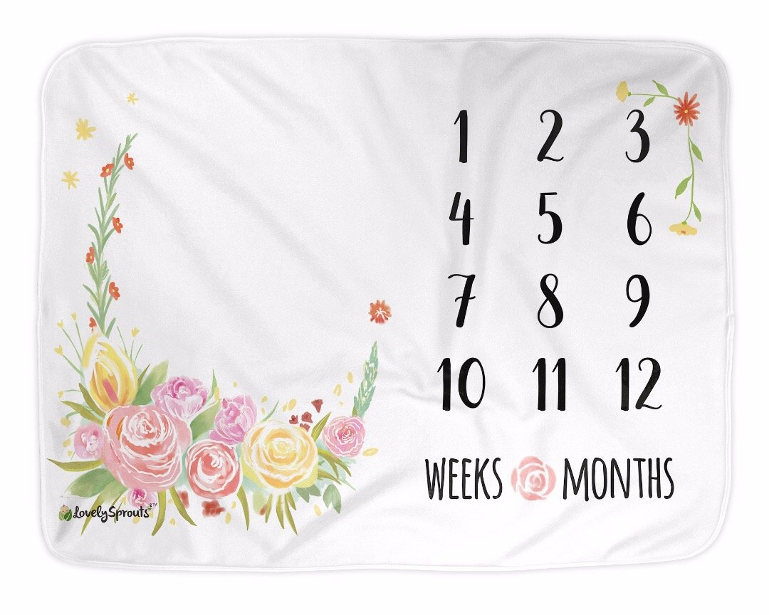 LovelySprouts Premium Fleece Monthly Milestone Blanket | Will Not Wrinkle or Fade Like Muslin Blankets | Large 60 x 40 Size | Perfect for Baby Boy or Girl Photo Props, Floral