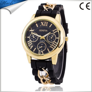 408df8fea22 Fashion Chain Trim Soft Band Geneva Watch Relogio Feminino Women Quartz  Casual Luxury Watches Hot Selling