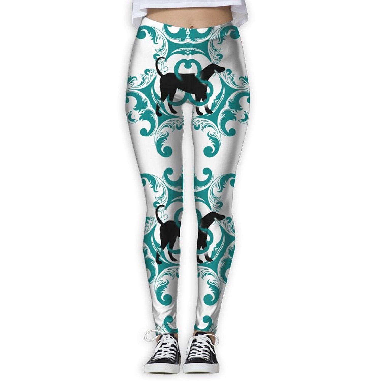 a0bac0fbdf9b Get Quotations · Vintage Style Corgi Silhouette Cute Elastic High Waist  Yoga Leggings for Women