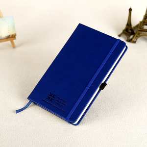 Custom Leather Cover A4 A5 Blue Notebook Business Promotional Notebook Diary Logo Stamping Embossed With Pen Hoder And Elastic