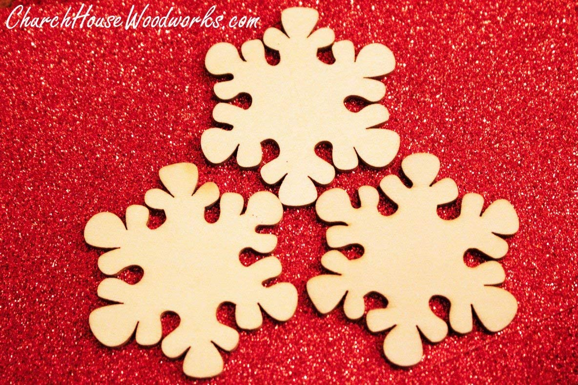 25 Snowflake Wood Christmas Ornaments- DIY Wooden Christmas Crafts To Paint On-2 Inch Snowflakes
